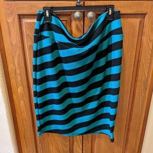 LuLaRoe Black Teal Stripe Cassie Pencil Skirt